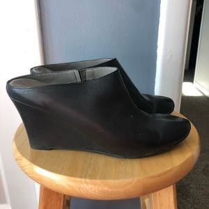 Black leather clog wedges